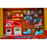 Play Right 15 Piece Police And Fireman Heavy Duty Playset With Helicopters, Fire Station And Heli Port