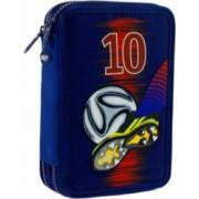 Penar Neechipat DACO Model Fotbal 20x5x13 cm Poliester Albastru Doua Fermoare cu Doua Compartimente Penar Fermoar Penare cu Fermoar