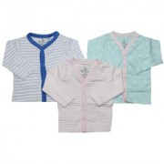 Krivi Kids Pink Blue Color Set of 3 Front Open Full Sleeve Cotton Top For Baby Boys And Baby Girls .