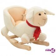 vidaXL Plišana ovčica za ljuljanje s naslonom 60 x 32 x 50 cm bijela
