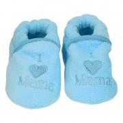 Babyslofjes Kraamcadeau blauwe babyslofjes/pantoffels love mama