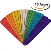 "Dreecy 120 Pcs 6"" Jumbo Colored Wood Craft Sticks for Kids Art Craft Handmade Work"