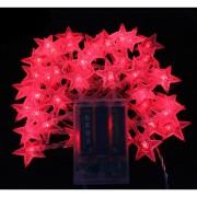 6M Con 40 Lámparas De Cadena De Forma Estrella Para Navidad O Adornar - Rojo