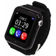 Ceas GPS Copii si Seniori iUni V8K Touchscreen 1.54 inch Pedometru Bluetooth Notificari Camera Black Bonus Bratara Roca Vulcanica unisex