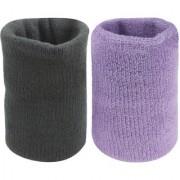 Neska Moda Unisex Black And Purple Pack Of 2 Cotton Wrist Band