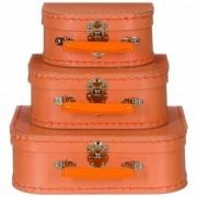 Merkloos Kinderkoffertje oranje 20 cm