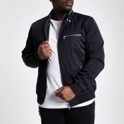 River Island Mens Big and Tall Black racer neck jacket (XXL)