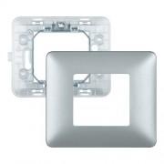 Bticino Supporto E Placca 2 Moduli Per Scatole Rotonde Matix Argento Sam4802msl
