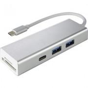 4-портов хъб USB 3.1 Type-C HAMA Aluminium, 2 x USB-A, 1 x USB-C, Card Reader, Сребрист