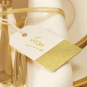 Confetti Gold Glitter And Ivory Luggage Tags - 12 Pack