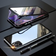 LUPHIE Double Sided Magnetic Metal + Tempered Glass Phone Cover for Apple iPhone 11 Pro 5.8 inch - All Black