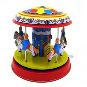 HITSAN INCORPORATION Classic Vintage Clockwork Wind Up Merry-Go-Round Children Kids Tin Toys with Key