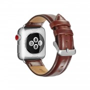 Top Layer Crazy Horse Texture Cowhide Leather Watch Band Replacement for Apple Watch Series 5 4 40mm / Series 3 2 1 38mm - Coffee