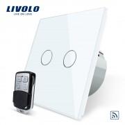 Intrerupator LIVOLO cu touch dublu wireless telecomanda inclusa, alb