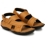 Drake Men's Tan Valcro Nubuck Leather Sandals