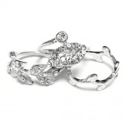 TOOGOO(R) TOOGOO Fashion sliver Leaf Rhinestone Joint Knuckle Nail Ring Set of Three Rings