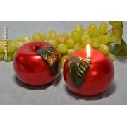 Designkaarsen com Appel Kaars ROOD metallic - kaarsen