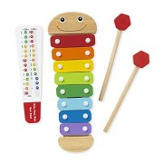 Melissa and Doug Caterpillar Xylophone Musical Toy with Wooden Mallets, Blue
