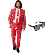 Heren kostuum / pak met kerst print maat 56 (3XL) - met gratis zonnebril