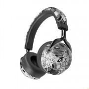 VJ086 Graffiti Headphone Wireless Bluetooth Over-ear Headset Support TF Card - Black and White