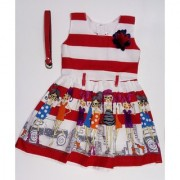 Kids dresses baby clothing Girls Stripes print cotton Frock