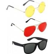 Elligator Round, Aviator, Wayfarer Sunglasses(Yellow, Red, Black)