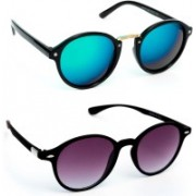 TheWhoop Round Sunglasses(Green, Violet)