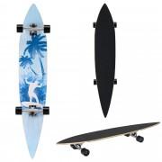 [pro.tec]® Monopatín Longboard para el cruising en la ciudad y el parque - 116x22x12cm - Skateboard (negro, azul claro, surfista con palmera)