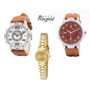 Mark regal 2 mens leather strap watches+1 round dail golden quartz womens combo pack of 3 pcs