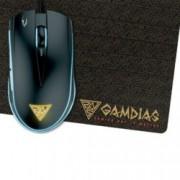 Мишка Gamdias ZEUS E2, в комплект с подложка за мишка NYX E1, оптична (3200dpi), 6 бутона, USB, черна, гейминг, подсветка