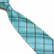 """Light Teal/Black/Silver Cross Striped Microfibre Tie"""