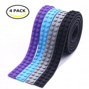 BUWANT 4 Rolls Loops Building Block Tape Roll Self-Adhesive Compatible Black, Purple, Light Blue, Grey