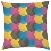 Geometric Repeat Cushion - Pink & Yellow - Faux Suede - Pink/Yellow
