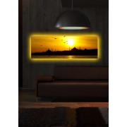 Tablou pe panza iluminat Shining, 239SHN1258, 30 x 90 cm, panza