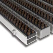 Hnědá hliníková čistící kartáčová venkovní vstupní rohož Alu Super - 100 x 100 x 2,7 cm FLOMAT
