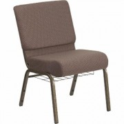 Flash Furniture Fabric Church Chair with Book Rack - Brown Dot/Gold Vein Frame, 21 1/4Inch W x 25Inch D x 33Inch H, Model FCH2214GVBNDTB