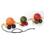 GIFT TRENDS HAND MADE WOODEN TORTOISE TOY - TRIPPLE PULL ALONG