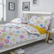Lenjerie de pat Dormisete Smile LemonX 200x220 / 50x70 bumbac 100 pentru pat 2 persoane 4 piese cearsaf pat uni Galben