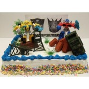 Transformers 10 Piece Birthday Cake Topper Set Featuring Bumblebee and Optimus Prime Figures with Th