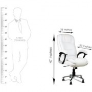 DZYN Furnitures Auspicious Leatherette Office Executive Chair (White)