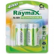 Raymax Batteries Blister 2 Batterie Ricaricabili Mezza Torcia C 4000 mAh