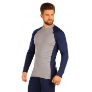 Litex Contrast Thermal V Neck Long Sleeved T Shirt Light Grey/Dark Blue 51425
