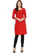 IVES Straight Red Crepe Solid Casual Kurti for Women