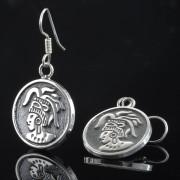 Maya indian - Silver örhängen mayan figur