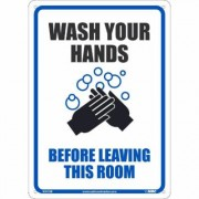National Marker Pandemic Signage, Sign Message Wash Your Hands Before Leaving This R, Product Type Sign, Length 10, Model WH1RB