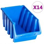 vidaXL Bacs empilables de stockage 14 pcs Bleu Plastique