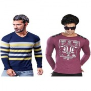 Kundan Exclusive Men's 100% Pure-Cotton Multi Color V-Neck & Round Neck Full Sleeves Slim Fit T Shirt ( Pack of 2 T Shirt for Men )
