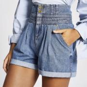 river island Womens Blue high rise paperbag denim shorts (10)