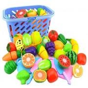 Dekoo Kitchen Toys Fun Cutting Fruits Vegetables Pretend Food Playset for Children Girls Boys Educational Early Age Basic Skills Development 23pcs Set