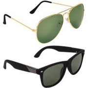 Zyaden Green Aviator UV Protection Unisex Sunglasses Combo